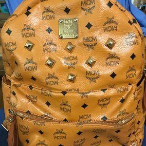 MCM Studded Cognac Backpack